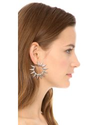 Kenneth Jay Lane | Metallic Statement Hoop Earrings - Silver | Lyst