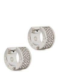 Michael Kors - Metallic Pavé Crystal Hoop Earrings - Lyst