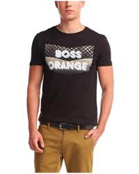 BOSS Orange | Black Cotton T-shirt 'tripolo 1' for Men | Lyst