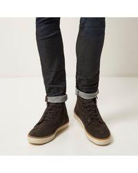 River Island - Gray Dark Grey Suede Zip-side Shoes for Men - Lyst