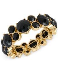 Kenneth Cole | Metallic Gold-tone Black Stone Stretch Bracelet | Lyst