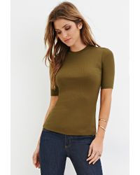Forever 21 | Green High-neck Ribbed Top | Lyst