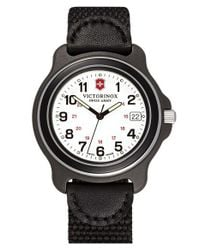 Victorinox | Black 'original' Large Nylon & Leather Strap Watch for Men | Lyst