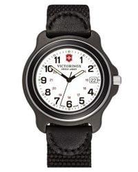 Victorinox   Black 'original' Large Nylon & Leather Strap Watch for Men   Lyst