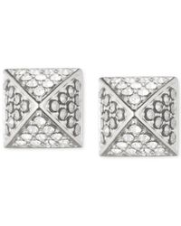Judith Jack | Metallic Sterling Silver Marcasite And Crystal Pyramid Earrings | Lyst