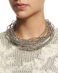 Brunello Cucinelli | Metallic Multi-strand Beaded Choker Necklace | Lyst