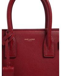 Saint Laurent - Red Baby Sac De Jour Grained Leather Bag - Lyst