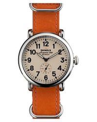 Shinola - Orange 'the Runwell' Leather Strap Watch for Men - Lyst