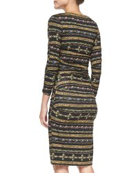 Nicole Miller Artelier | Black Gilded Striped Jersey Midi Dress | Lyst