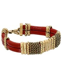 Lucky Brand | Metallic Red Leather Bracelet | Lyst