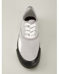 Julien David - Gray Lace-Up Sneakers for Men - Lyst