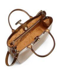 Longchamp - Roseau Metallic Patent Leather Box Tote - Lyst