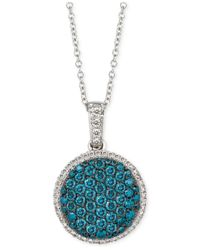 Le Vian | Metallic Blue And White Diamond Pendant Necklace (5/8 Ct. T.w.) In 14k White Gold | Lyst