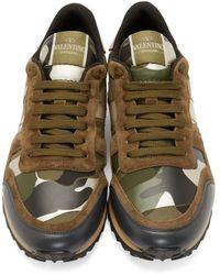 Valentino Green Silver Metallic Camo Sneakers for men