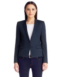 HUGO - Blue Regular-fit Cropped Blazer In Stretch Wool - Lyst