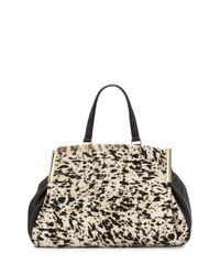 Halston - Black Leather and Calf Hair Shoulder Bag - Lyst