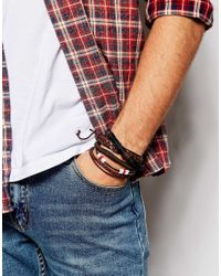 ASOS | Leather Bracelet Pack In Brown With Red Highlights for Men | Lyst