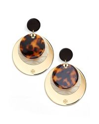 Tory Burch | Metallic Layered Disc Earrings - Horn/ Gold | Lyst