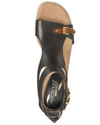 Aerosoles | Black Yet Another Leather Wedge Sandals | Lyst