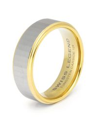 Swiss Legend | Metallic Men's Carbide And Gold Tone Tungsten Ip Ring | Lyst