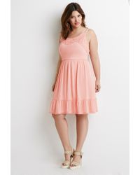Forever 21 | Pink Plus Size Crochet-trimmed Babydoll Dress | Lyst