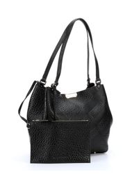 Burberry - Black Check Embossed Calfskin Tote Bag - Lyst