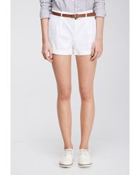 Forever 21 - White Belted Chino Shorts - Lyst