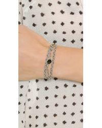 Sogoli | Metallic Stone Wrap Braided Bracelet - Silver/black | Lyst