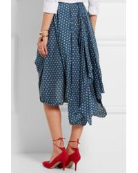 Vivienne Westwood Anglomania - Blue Draped Floral-print Cotton-poplin Skirt - Lyst