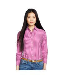 Polo Ralph Lauren | Pink Interlock Knit Oxford Shirt | Lyst