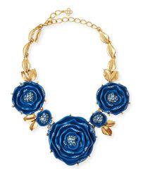 Oscar de la Renta - Blue Resin Crystal Necklace - Lyst