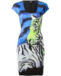 Just Cavalli - Black Tiger Print Fitted Dress - Lyst