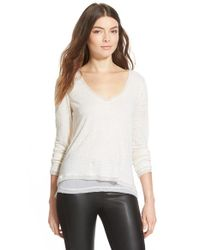 Sam Edelman | White 'orla' Double Layer Long Sleeve Linen Top | Lyst