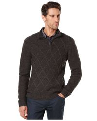 Perry Ellis | Gray Quarter-zip Diamond-pattern Sweater for Men | Lyst