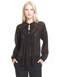 Rebecca Taylor | Black Coupe Silk Blend Peasant Top | Lyst