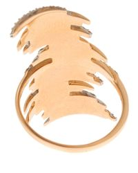 Kismet by Milka - Metallic Gold White Diamond Long Ring - Lyst