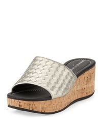 Donald J Pliner | Metallic Safari 3 Leather Wedge Sandals | Lyst