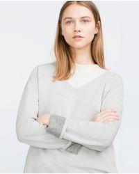 Zara | White Reversible Sweatshirt | Lyst