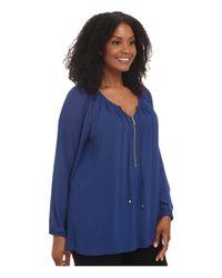 MICHAEL Michael Kors   Blue Plus Size Zip Peasant Tunic   Lyst