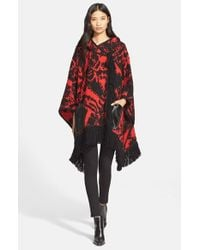 Tracy Reese - Red Fringe Trim Knit Hooded Poncho - Lyst