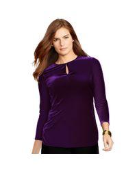 Ralph Lauren - Purple Velvet Keyhole Top - Lyst