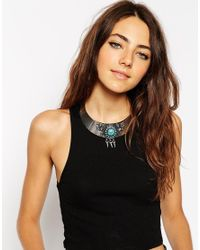 ASOS - Blue Stone & Spike Torque Necklace - Lyst