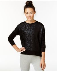 Betsey Johnson | Black Rose Foil Print Sweatshirt | Lyst