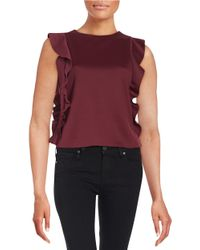 Lord & Taylor | Brown Ruffled Scuba Top | Lyst