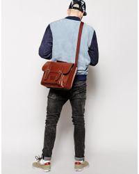 ASOS - Brown Leather Satchel for Men - Lyst