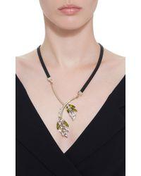 Marni - Brown Floral Rhinestone Necklace - Lyst