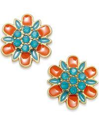 kate spade new york - Orange Gold-plated Floral Stud Earrings - Lyst