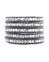 Chan Luu | Metallic Crystal Cal Wrap Bracelet On Natural Grey Leather | Lyst