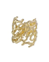 Kenneth Jay Lane | Metallic Polished Gold Branch Hinged Cuff | Lyst