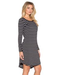 Sundry - Black Striped Long Sleeve Pocket Dress - Lyst